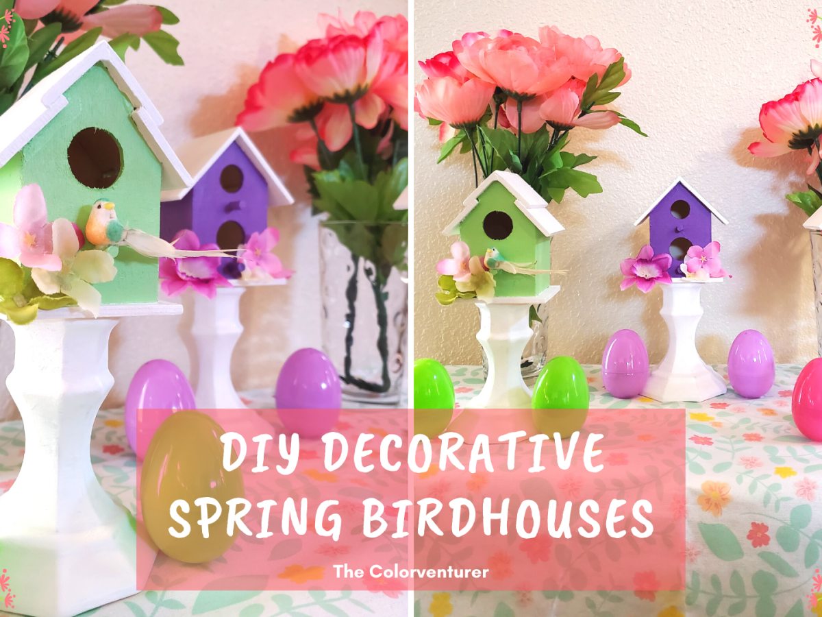 These DIY Decorative Candlestick Birdhouses are the perfect Spring decor DIY! With some craft store birdhouses and candlesticks, you can liven up your home for spring!