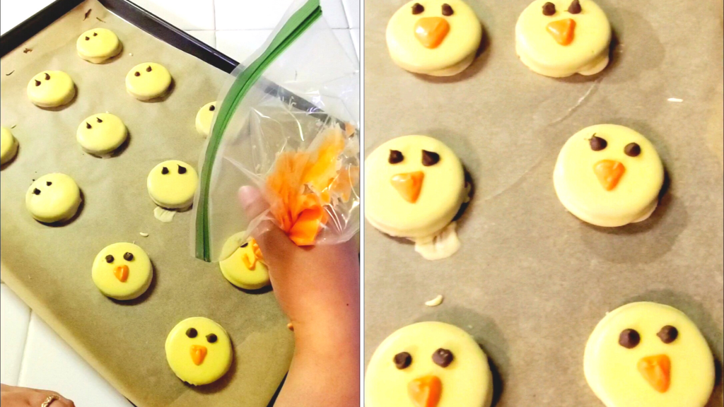 These Chocolate-Dipped Oreo Chicks are the perfect quick and easy sweet treat recipe for spring! Each bite has the perfect amount of crunch within a layer of silky chocolate — plus they are so cute! Using the piping bags, pipe eyes onto the chick with the brown/black chocolate and a beak with the orange one.