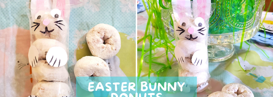 These simple and adorable Easter Bunny Donuts make for a quick Easter basket gift for kids or a fun spring treat to hand out to friends and family!