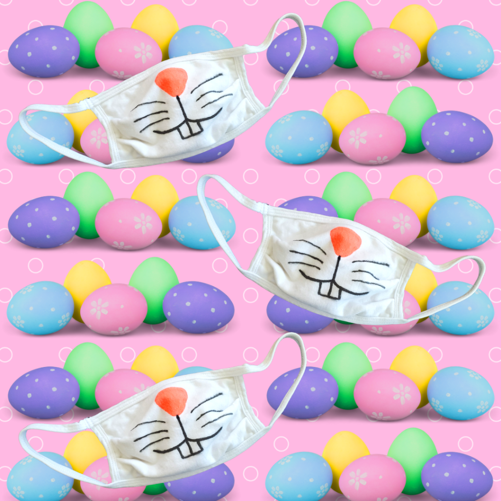 This quick and easy DIY Bunny Face Mask is perfect for kids and adults alike! This Easter face mask DIY makes for some spring fun for families, too! This mask pairs well with a spring or Easter outfit and is a great Easter basket for kids!